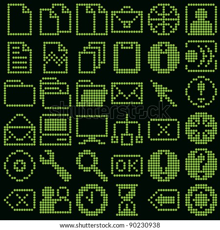 monochrome fluorescent dot-based icon big set for control screens and web design. more icons are available