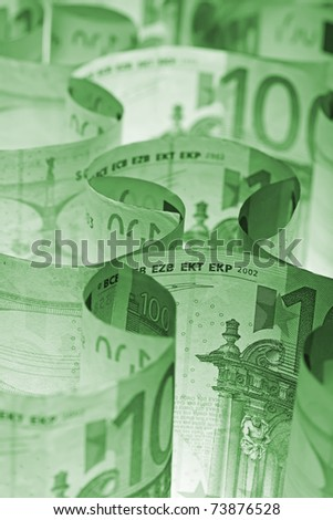 Monochrome green rolled european currency banknotes background - stock photo