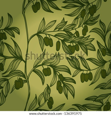Monochrome hand drawn background with branches and green olives. Raster version of the vector image