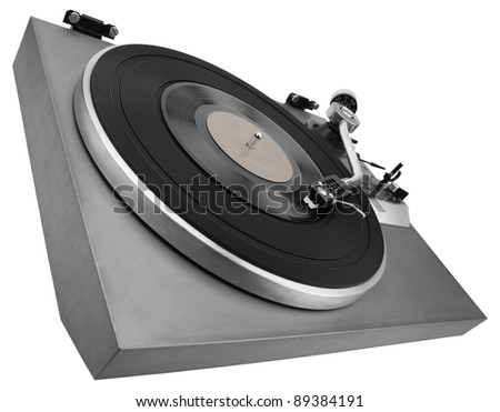 Monochrome image of old record player isolated on white with clipping path