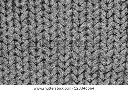 Monochrome knitting wool texture background.