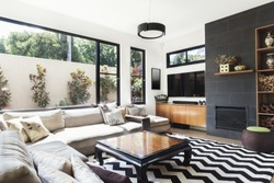 Monochrome living room with wood and grey tiling accents and chevron pattern rug