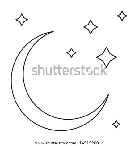 Monochrome moon with stars on isolated white