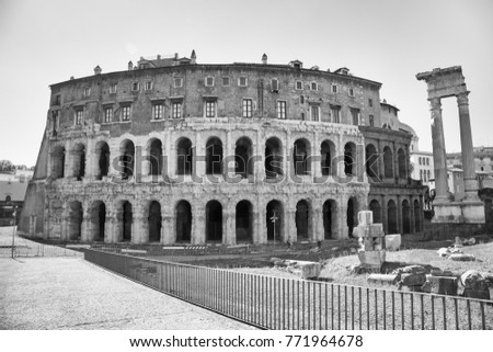Monochrome of the Theatre of Marcellus in Rome, Italy. #771964678
