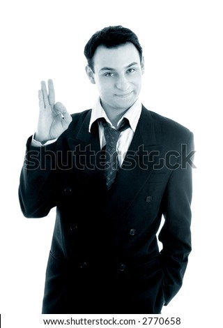 monochrome picture of friendly businessman showing ok sign over white