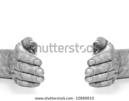 Monochrome picture of old hands isolated on white background