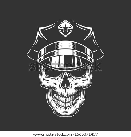 Monochrome policeman skull in police cap in vintage style isolated illustration