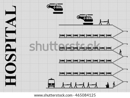 monochrome representation of a busy hospital on graph paper