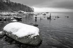 Monochrome sea shore landscape