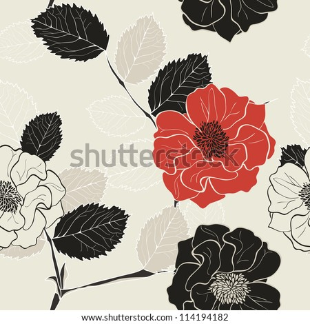 Monochrome Seamless Hand-Drawn Floral Pattern with red flower