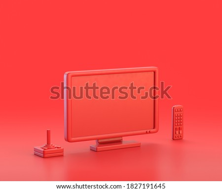 monochrome single red color  tv, remote and joystick in red background,single color, 3d Icon, 3d rendering, household objects