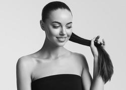 Monochrome teeth smile healthy long hair woman beauty portrait