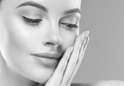 Monochrome woman beauty face close up portrait