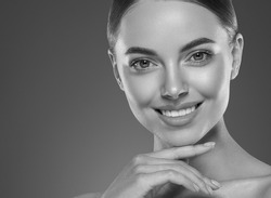 Monochrome woman teeth smile beautiful face beauty eyes and lips natural skin young beauty model