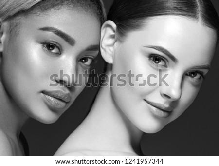 Monochrome women beauty ethnic portrait #1241957344