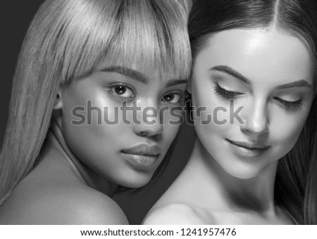 Monochrome women beauty ethnic portrait #1241957476