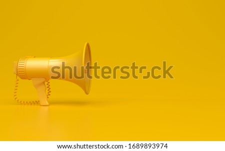 Monochrome yellow single megaphone. Loudspeakers on a yellow background. Conceptual illustration with copy space. 3D render