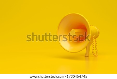 Monochrome yellow single megaphone. Loudspeakers on a yellow background. Conceptual illustration with copy space. 3D rendering