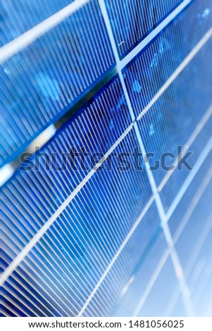 monocrystalline photovoltaic solar cell panels producing electricity, close-up