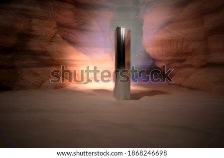 Monolith in Canyon with beam of light breaking through - 3D Render