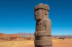 Monolith Statue of Ponce, ancient city of Tiwanaku (Tiahuanaco) near La Paz, Bolivia.