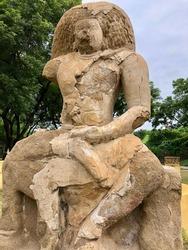 Monolithic sandstone sculpture of Hindu God Shiva found in ancient Kanchi Kailasanathar temple in Kanchipuram, Tamilnadu, India. Historical sandstone carving sculpture in ancient temple in Tamilnadu