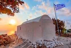 Monolithos castle church at sunset, Rhodes island, Greece