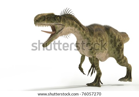 monolophosaurus walking on white background