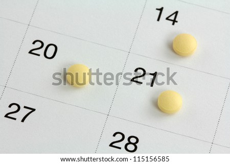 Monophasic Birth Control Pills for 21 days, Oral Hormonal contraception tablet, on a calendar