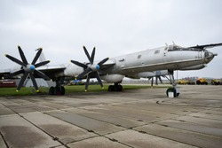 Monoplane long-range strategic heavy bomber TU-95. Wing with two coaxial contra-rotating propellers.
