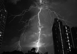Monotone Colored Spectacular Real Lightning Strikes in the Night Sky