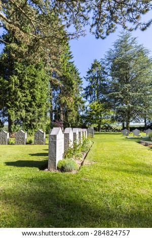 MONS, BELGIUM, JUNE 5 2015: German grave stones at the ST. SYMPHORIEN MILITARY CEMETERY near Mons, Belgium, remembering the solders from the first world war.