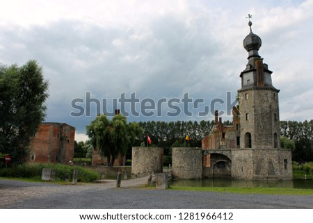 Mons, Belgium. The Chateau d'Havre (Havre Castle), a ruined castle in the village of Havre in the town of Mons, province of Hainaut Photo stock ©