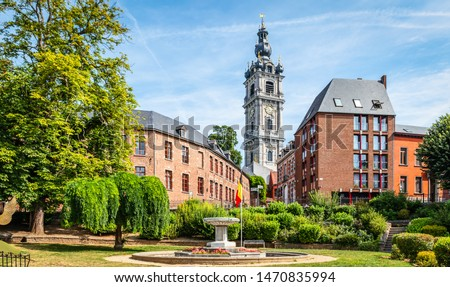 Mons, Wallonia, Belgium. Panoramic landscape view with belfry tower in city centre. Сток-фото ©