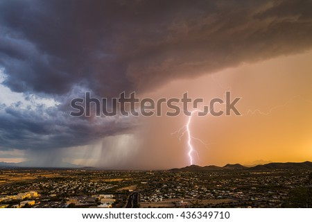 Monsoon thunderstorm with forked lightning over Tucson, Arizona