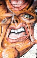 Monster face details, urban graffiti