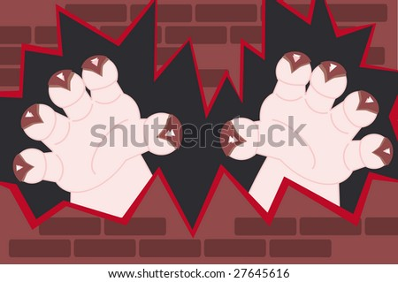 monster hands with claws coming through a broken wall