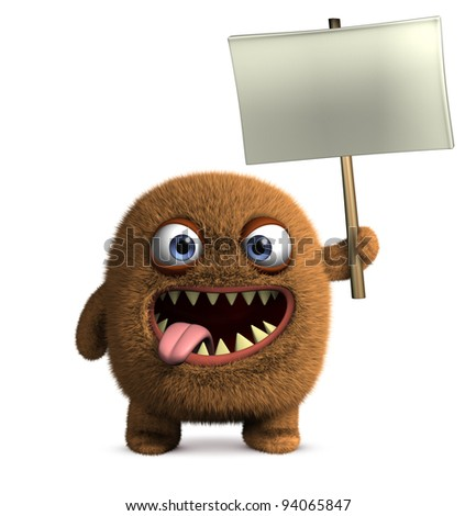 monster holding blank board
