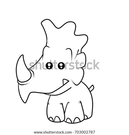 Stock Photo monster rhino kid coloring book