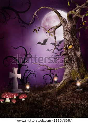 Monster tree with mushrooms, lanterns, bats, and tombstones