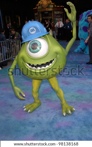 Monsters, Inc character MIKE WAZOWSKI at the world premiere of Disney/Pixar's Monsters, Inc., at the El Capitan Theatre, Hollywood. 28OCT2001.   Paul Smith/Featureflash
