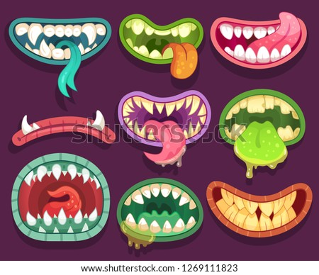Monsters mouths. Halloween scary monster teeth and tongue in mouth closeup. Funny jaws and crazy face laugh maws of happy bizarre creatures expression zombie or alien character cartoon  icon set