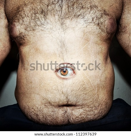 monstrous belly fat of dirty man