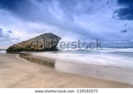 Monsul Beach with a cloudy blue sky, its a natural scenery of various famous films in Cabo de Gata, natural park of Spain