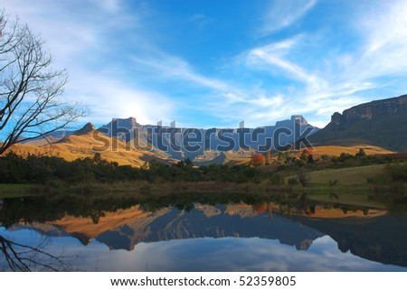 Mont Aux Source amphitheater Drakenberg Mountains in South Africa