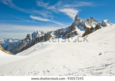 Mont Blanc massif. panorama of the Italian Alps