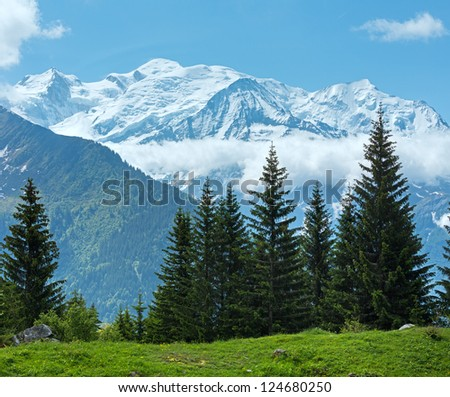 Mont Blanc mountain massif (Chamonix valley, France, view from Plaine Joux outskirts). #124680250