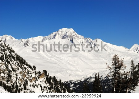 Mont Blanc, view from Les Arcs 1950 - stock photo