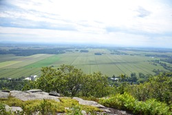 Mont Saint-Grégoire, Cime Haut-Richelieu, Quebec, Canada: View at the summit of farmlands