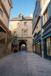 Mont-Saint-Michel, a town located in Normandy west of Paris on the small island near the riverside. Amazing view of French old Gothic architecture.